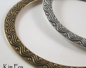 8 inch Wave and Dot Bangle Oval Bangle in Golden Bronze designed by Kim Fox
