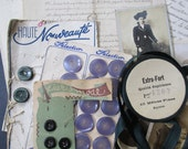 Vintage French Ephemera Photos Ribbon Buttons Habdashery Mixed Media Flea Market Lot