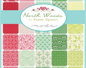 "Moda North Woods Charm Pack, (42) 5"" Quilt Fabric Squares by Kate Spain Quilting Sewing"
