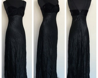 HALF OFF Vintage 1990s Black All That Jazz Velvet Maxi Dress Formal Gown Prom XS/ (H)
