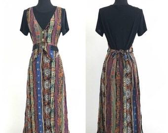 70% OFF CLOSING SALE Vintage 1990s Rayon Slinky Spandex Hippie Grunge Maxi Dress Colon Usa S (L)