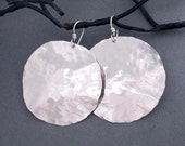 Large Sterling Silver Disc Earrings Round Dangle Silver Earrings Artisan Handmade Hammered Silver Tribal Jewelry Modern Metal Jewelry