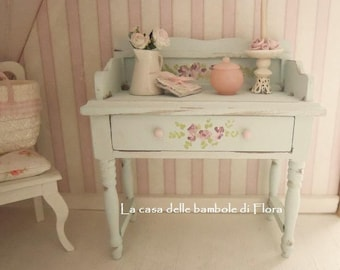 Spring Collection Aqua Shabby Chic Wash Stand - 1:12 dolls house dollhouse miniature