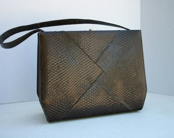 Vintage Brown Faux Snakeskin Handbag Lewis Designs
