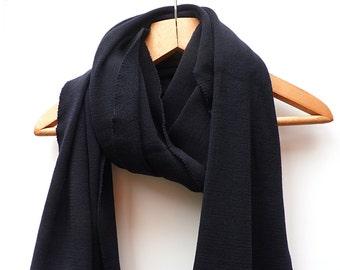 Wrap Long Scarf, Dark Blue wool scarves for women, merino wool shawl, blanket scarf wrap