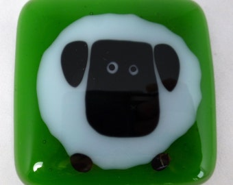 Fused Glass Sheep Magnet