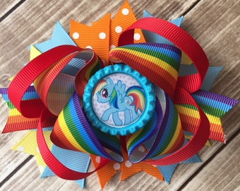 Boutique Baby Girls Layered My Little Pony Chevron Hair Bow Clip, Rainbow Dash Hair Bow, My little pony Rainbow Dash Bow