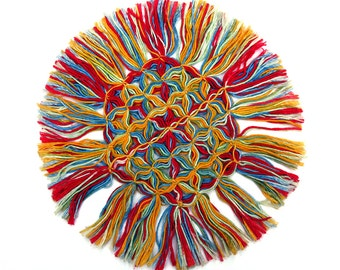 Wild & Colorful Round Vintage Doily - Intricately Tied with Long Tassel Fringe - Red, Blue, and Yellow - Like a Burst of Fireworks - Wow!