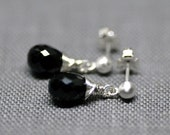 black spinel drop stud earrings
