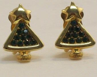Vintage Gold Tone Christmas Tree Clip on Earrings, Green Rhinestone Earrings
