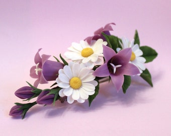 Barrette with bellflowers and camomiles, barrette with flowers flower jewelry,floral jewelry, polymer clay jewelry, hair accessories