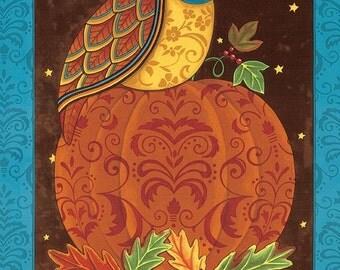 "ON SALE Moda Forest Fancy by Deb Strain Autumn Teal OWL Panel 23"" x 44"" Halloween Fabric"