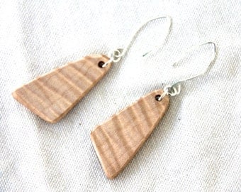 medium curly maple wood and sterling silver earrings