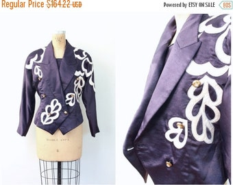 20% SALE vintage 80s appliqued couture silk satin jacket - marching band - military / Glam Rock - 1980s Asian designer - Japan / costume - p