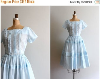 SALE / vintage 50s pastel day dress - fit and flare 1950s dress / Sweet Kawaii - 50s pastel blue dress / bridesmaid dress - summer dress