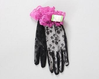 80s black lace gloves . purple ruffle - NOS 80s Van Raalte gloves / New Wave - glam rock gloves / Halloween costume - 80s dance party