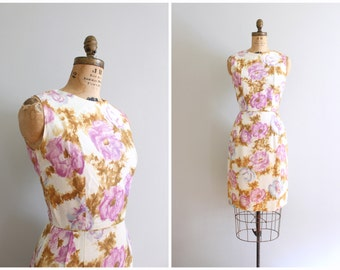 vintage 50s silk crepe dress - sleeveless floral print sheath dress / lilac watercolor floral print dress / 50s pastel summer dress