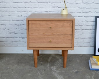 Nova Nightstand with Drawers - Solid Cherry - Clear Finish