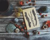 Brown Woods Notebook Moleskine Journal Hand Carved Linocut Sticks Nature Christmas Gift Hostess Present Men Women Autumn Winter Writer
