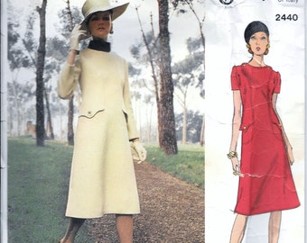 Vintage 1960s Vogue GALITZINE Of Italy DRESS Sewing Pattern Size 14 Bust 36 Semi-Fitted A-Line