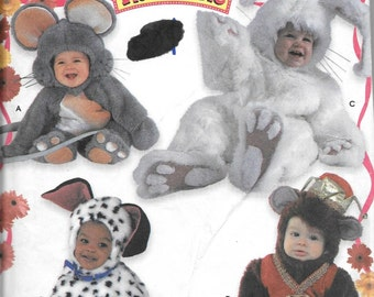Simplicity 9821 Picture Me Costumes Rabbit, Monkey, Mouse, Dog Sewing Pattern Toddler's Sizes 1/2, 1, 2, 3, 4