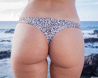 INDIE ATTIRE - Thong Bikini Bottom - Cream with Brown Leopard Print