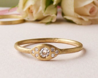 Mia Recycled 18ct Gold  and 10pt Diamond Engagement Ring.
