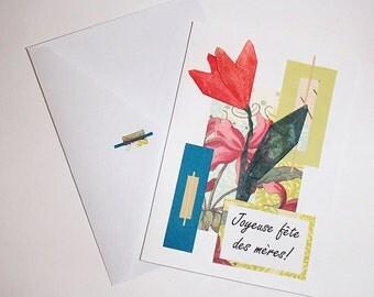 Handmade Mother's Day Card with origami flower-Carte fête des mères Faite à la main avec fleur en origami-English or/ou Français