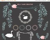 Wedding Clipart   Swan Clipart   Floral Clip Art   Willow Clip Art    Digital Clip Art   Vector Graphics   Wreath Clip Art