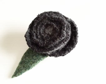 Charcoal Grey Rose Pin GRAY Rose / Felted Wool Brooch / Eco Fashion Gift / Felt Rose Boutonniere / Recycled Jewelry / Handmade Wedding /
