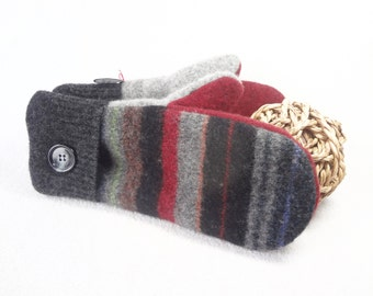 Unisex Wool Mittens MULTI Stripes with Gray and Red Felted Sweater Wool Mittens Fleece Lined Mittens Gift for Guys or Girls WormeWoole