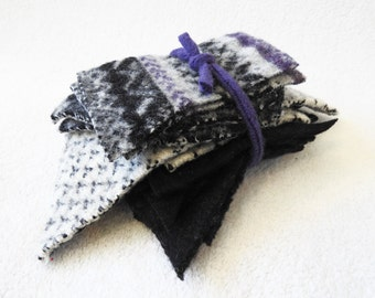 Felted Sweater Wool Coordinating Scrap Pack PURPLE & BLACK White Fabric Scraps Felted Wool Pieces Destash Craft Supplies from WormeWoole