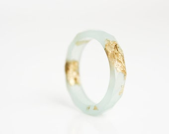 sea glass green resin ring | gift for her |  metallic gold leaf | size 10 | geo faceted eco resin ring