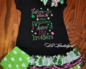 ON SALE St. Patricks Day Dress- Shamrock Dress- Clover Dress- Watch out before you Pinch me Dress- Girls St. Patrick's Day Outfit- St. Patri