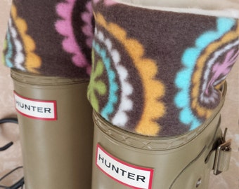 Rain Boot Liners, Medallion Print Cuff with Cream Fleece Sock, Boot Socks, Rain Boot Socks,Wellie Inserts- SM/Med, Med/Lrg