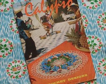 Vintage 1960s Crochet Patterns Booklet / Butterfly Doily Doilies / Crinoline Lady Place Mats / Floral Pot Holders