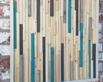 Wood Sculpture Wall Art - Skinny Rectangles - 24x24- White and turquoise