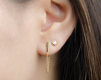 Tiny Bar Chain Studs, Sterling Silver, Gold Plated, Chain Bar Earrings, Dangle Chain Stud Earrings, Edgy Jewelry, Gift for Mom, Lunai STD077