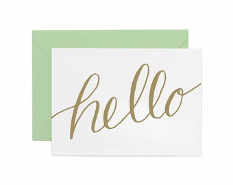 Letterpress Printed Hello (Just Because) greeting card in Gold Ink with Mint Envelope