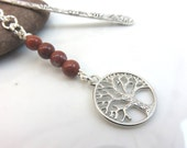 Red Jasper bookmark - silver metal bookmark - tree of life bookmark - silver tree bookmark - silver bookmark - gift for book lover