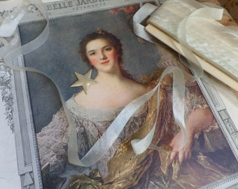 vintage and unused French white rococo ribbon for embroidery   10 yards