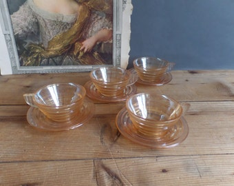 Vintage set of 4 french coffee cups in glass Art Deco style from the 50s