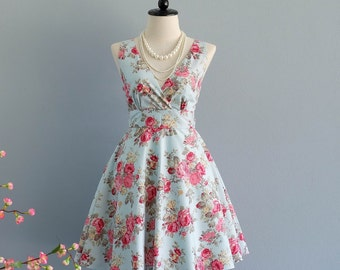 My Lady II - Blue With Pink Floral Summer Dress Vintage Floral Sundress Country Prom Dress Blue Floral Wedding Bridesmaid Dress XS-XL