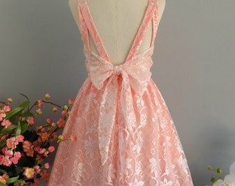 A Party V Shape Dresses Sparkle Pink Lace Dress Prom Party Dress Lace Wedding Bridesmaid Dress Pink Lace Backless Dress Lace Sundress XS-XL