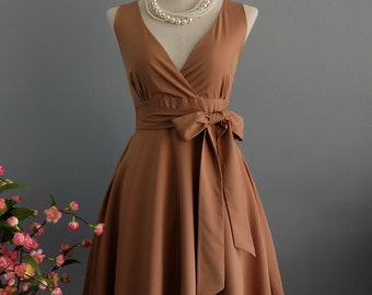 My Lady II Spring Summer Sundress Dress Ice Coffee Brown Party Dress Brown Bridesmaid Dress Garden Party Sundress Brown Dress XS-XL
