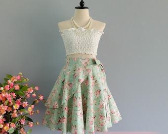 Summer's Whisper Floral Skirt Spring Summer Sweet Mint Green Floral Skirt Party Cocktail Skirt Wedding Bridesmaid Skirt Green Floral Skirts