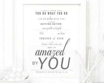 "Lonestar ""Amazed"" - Grey & Blush - Valentine's, Wedding Gift, Cotton, Paper Anniversary Gift, Song Lyrics, Art Print"