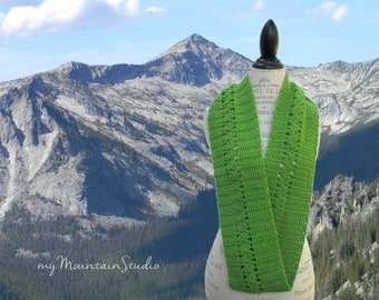 Women's Handmade Infinity Scarf Cowl. Lime Shimmer. Green with Sparkles. Crocheted Ladies Scarf. Perfect for Autumn. Ready to Ship.