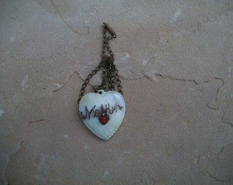 For Mother, Mother of Pearl Heart Pendant