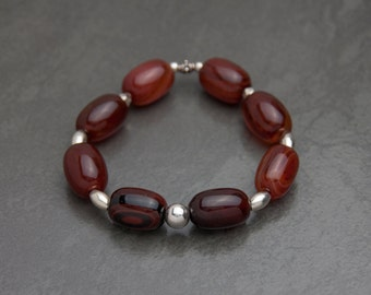Honey brown agate sterling silver bracelet. Sterling silver beaded bracelet. Handcrafted stone bracelet. Earthy natural bracelet. Great gift